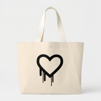 Black Heartbleed Dripping heart Large Tote Bag
