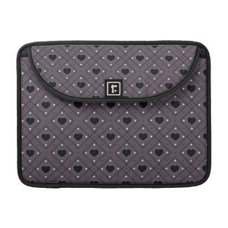 Black Hearts And Dots Plaid Pattern MacBook Pro Sleeves