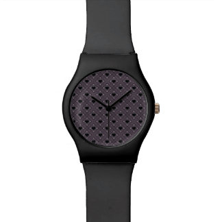 Black Hearts And Dots Plaid Pattern Watch