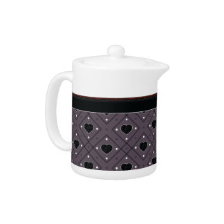 Black Hearts And Dots Plaid Pattern With Border