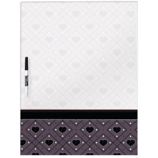 Black Hearts And Dots Plaid Pattern With Border Dry Erase Board
