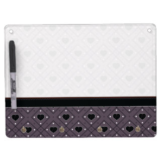 Black Hearts And Dots Plaid Pattern With Border Dry Erase Board With Key Ring Holder