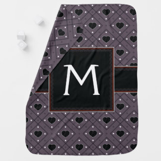Black Hearts And Dots Plaid Pattern With Initial Baby Blanket
