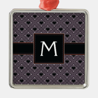 Black Hearts And Dots Plaid Pattern With Initial Metal Ornament
