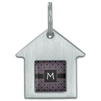 Black Hearts And Dots Plaid Pattern With Initial Pet ID Tag