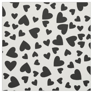 Black Hearts Custom Background Color Fabric