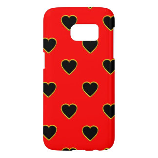 Black Hearts on a Red Background Love and Romance