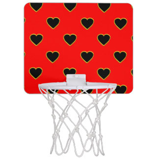 Black Hearts on a Red Background Love and Romance Mini Basketball Hoop