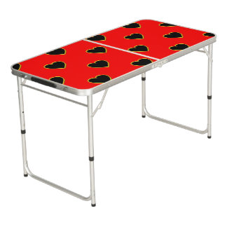 Black Hearts on a Red Background Love and Romance Pong Table