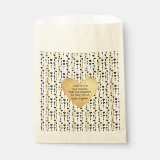 Black Hearts on Golden Strings Valentine's Day Favour Bag