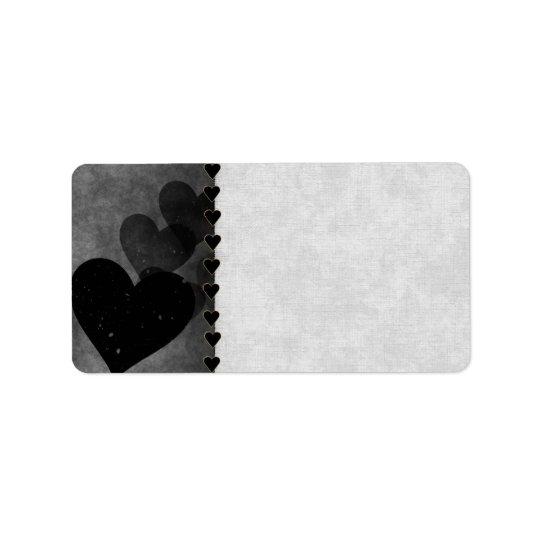 Black Hearts Pattern Address Label