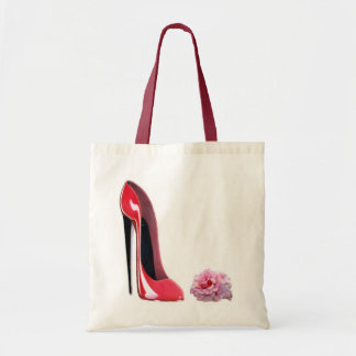 Black heel red stiletto shoe and rose budget tote bag