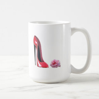 Black heel red stiletto shoe and rose coffee mug