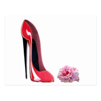 Black heel red stiletto shoe and rose postcard