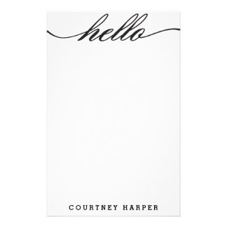 "Black ""Hello"" Personal Stationery"