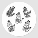 Black Henna Tattoo Hands Round Stickers