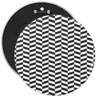Black Herringbone 6 Cm Round Badge
