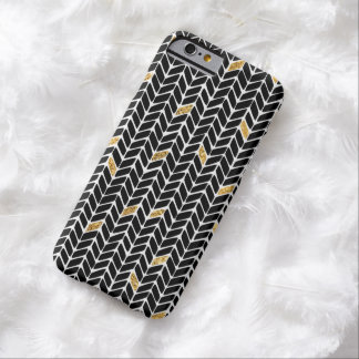 Black Herringbone Sparkle Barely There iPhone 6 Case