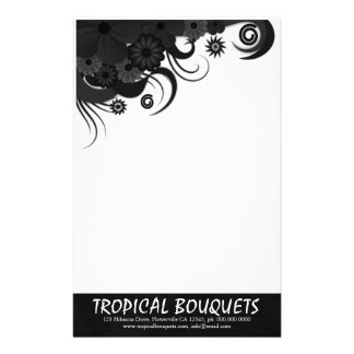 Black Hibiscus Florist Stationery Writing Paper