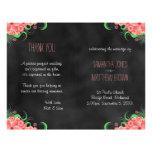 Black Hibiscus Pink Floral Bi-Fold Wedding Program 21.5 Cm X 28 Cm Flyer