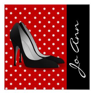 Black High Heels Red White Polka Dot Pattern Poster
