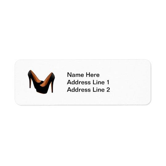 Black High Heels Return Address Label