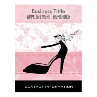 Black High Heels Stiletto Shoes on Pink Floral Postcard