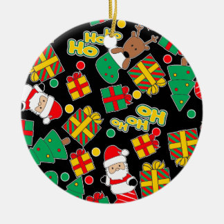 Black - Ho Ho Santa Ceramic Ornament