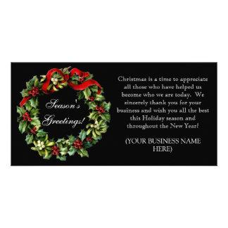 Black Holly Wreath Imprinted Corporate Christmas Customized Photo Card