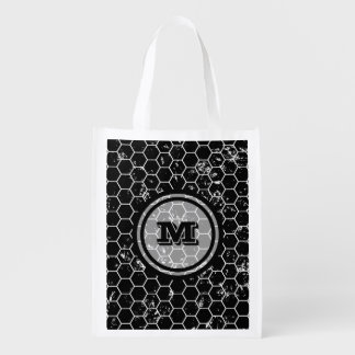 Black Honeycomb Geometric Monogram Reusable Grocery Bag
