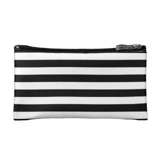 Black Horizontal Stripes Cosmetics Bags