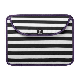 Black Horizontal Stripes MacBook Pro Sleeves