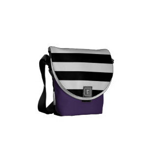 Black Horizontal Stripes Messenger Bags