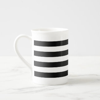 Black Horizontal Stripes Tea Cup