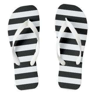 Black Horizontal Stripes Thongs