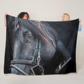 Black Horse Add a Name Fleece Blanket