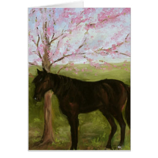 Black Horse and A Cherry Tree Card