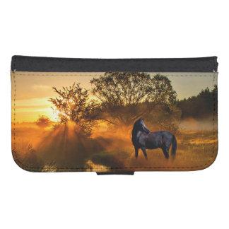 Black horse at sunrise or sunset samsung s4 wallet case