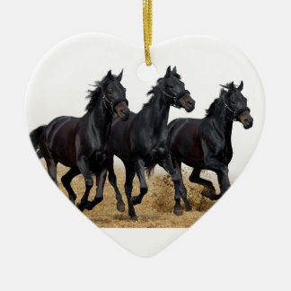 Black horse ceramic heart decoration