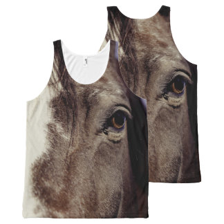 Black Horse Face with Eye All-Over Print Singlet