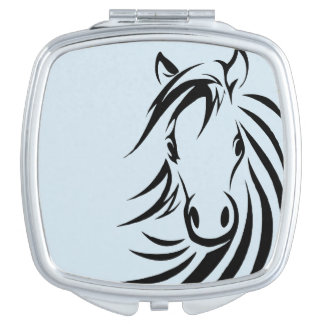 Black Horse Head  on Blue Makeup Mirror