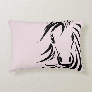 Black Horse Head  on Pink Decorative Cushion