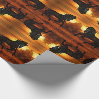 Black Horse Prancing in a Summer Sunset Meadow Wrapping Paper