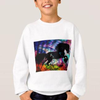 Black Horse Running Though Abstract Fire Sweatshirt