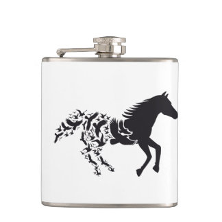 Black horse silhouette with flying birds flasks