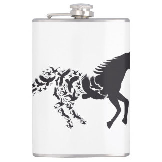Black horse silhouette with flying birds hip flask