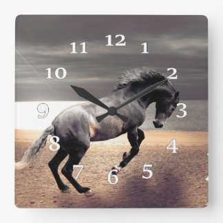 Black Horse Square Wall Clock