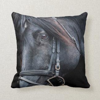 Black Horse White Horse Throw Pillow