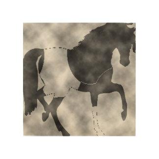 black horse wood wall art