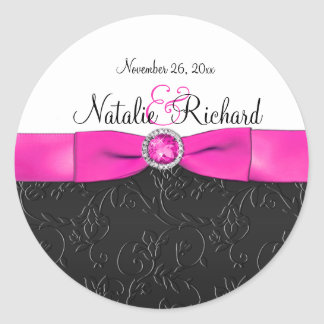 "Black, Hot Pink, and White 1.5"" Round Sticker"